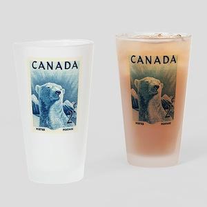 Vintage 1953 Canada Polar Bear Postage Stamp Drink