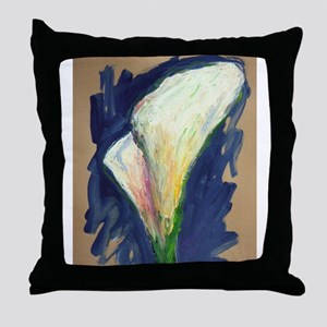 Tuxedo Cuff Calla Lily Painting Throw Pillow