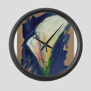 Tuxedo Cuff Calla Lily Painting Large Wall Clock