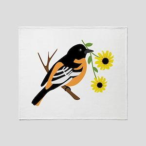 Black Eyed Susan Bird Throw Blanket