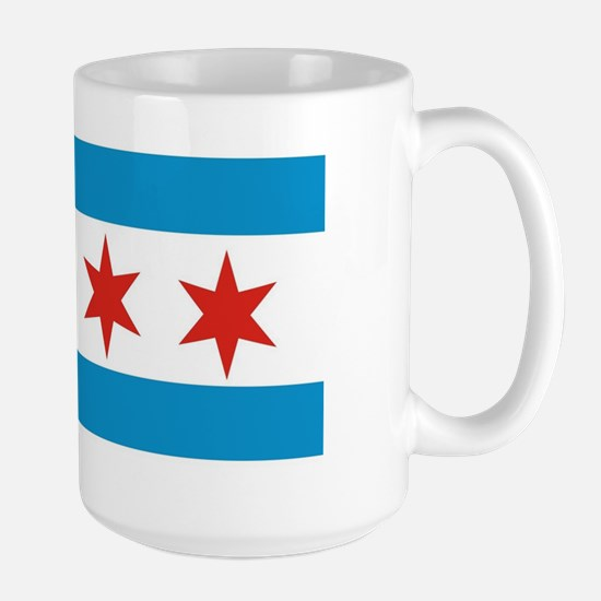 chicago city flag Large Mug