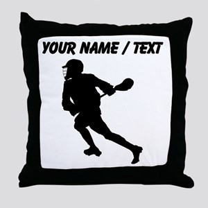 Custom Lacrosse Player Silhouette Throw Pillow