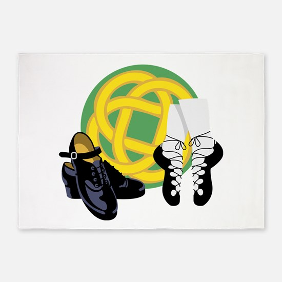 Celtic Knot Irish Shoes 5'x7'Area Rug