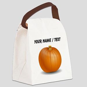 Custom Orange Pumpkin Canvas Lunch Bag