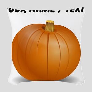 Custom Orange Pumpkin Woven Throw Pillow