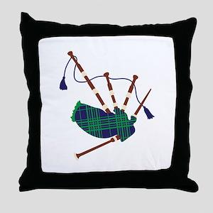 Scottish Bagpipes Throw Pillow