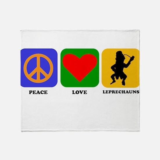 Peace Love Leprechauns Throw Blanket
