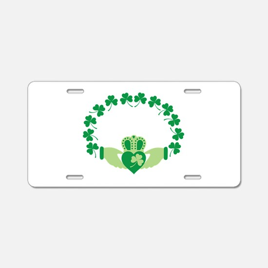 Claddagh Heart Crown Shamrocks Aluminum License Pl