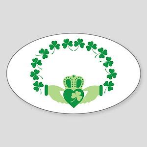 Claddagh Heart Crown Shamrocks Sticker