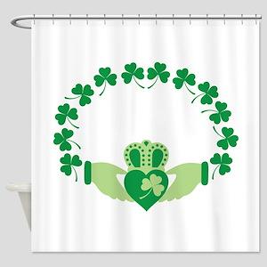 Claddagh Heart Crown Shamrocks Shower Curtain