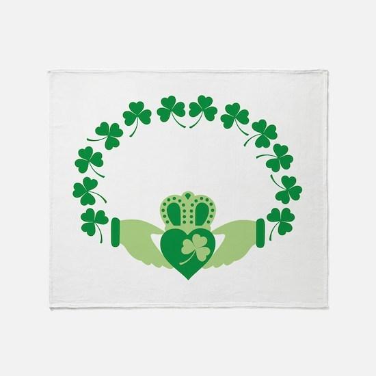 Claddagh Heart Crown Shamrocks Throw Blanket