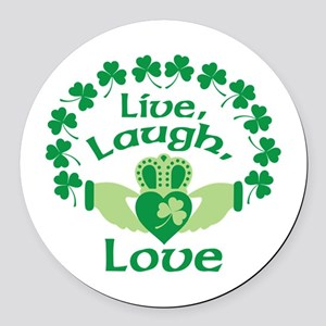 Live, Laugh, Love Round Car Magnet