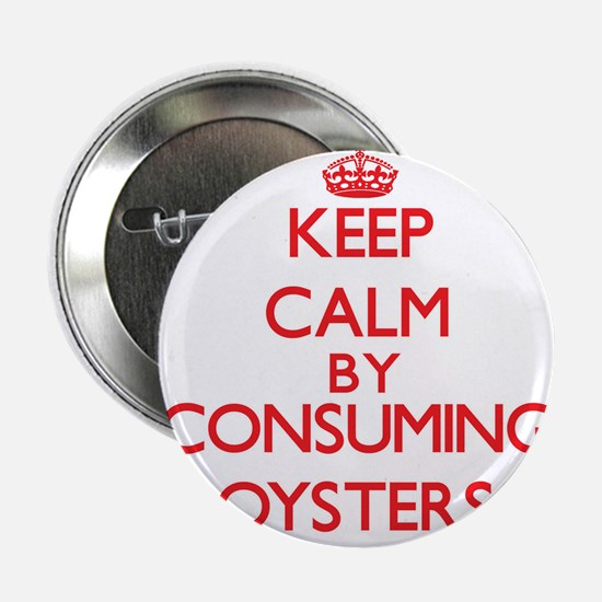 """Keep calm by consuming Oysters 2.25"""" Button"""