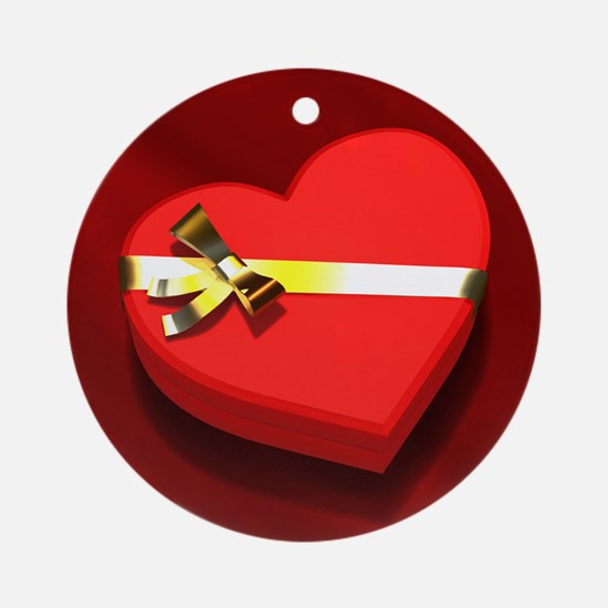 Chocolate Heart Box Ornament (Round)