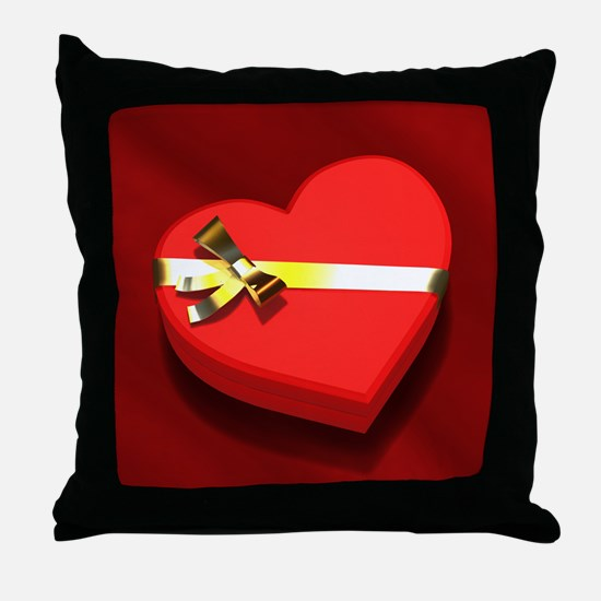 Chocolate Heart Box Throw Pillow