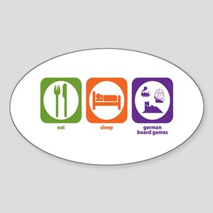 Eat Sleep German Board Games Oval Sticker