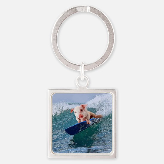Surfing hot pig Square Keychain