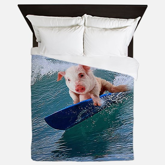 Surfing hot pig Queen Duvet