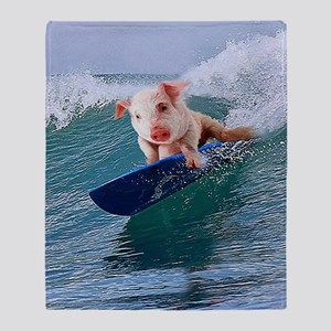 Surfing hot pig Throw Blanket