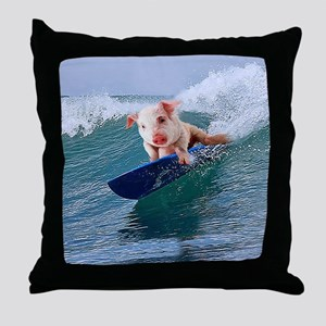 Surfing hot pig Throw Pillow