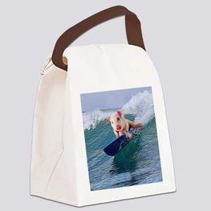 Surfing hot pig Canvas Lunch Bag