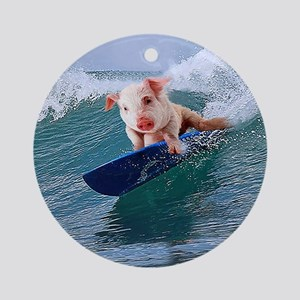 Surfing hot pig Round Ornament