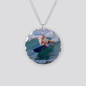 Surfing hot pig Necklace Circle Charm