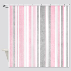 Faded Pink And White Stripes Shower Curtain