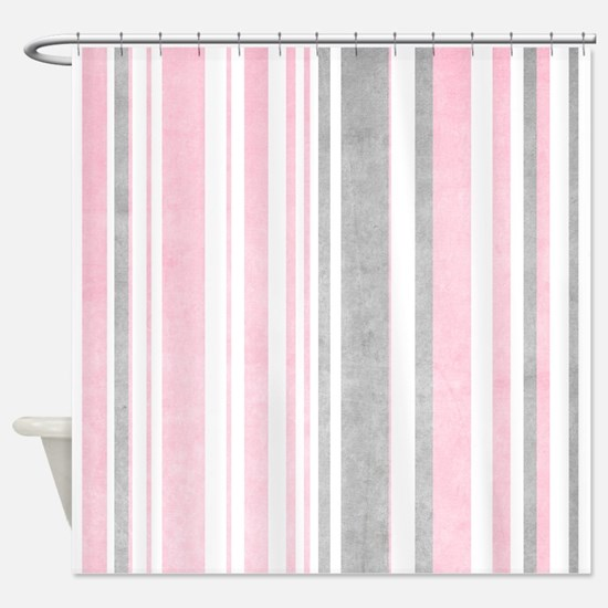 pink and white striped shower curtain. Faded Pink And White Stripes Shower Curtain Curtains  CafePress