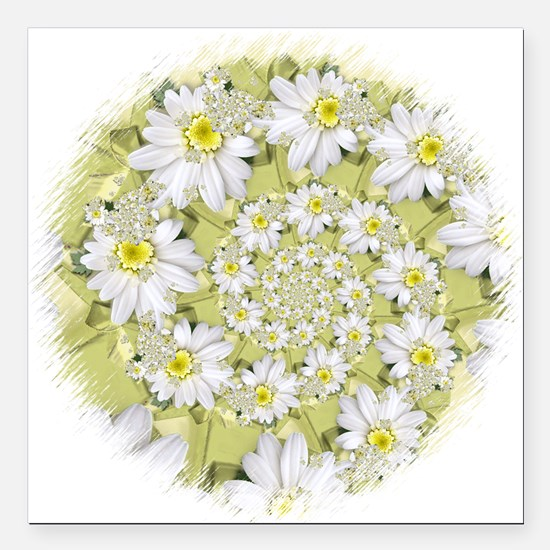 "Fractal White daisy Spiral2 Square Car Magnet 3"" x"