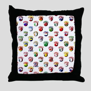 World Flags Soccer Balls Throw Pillow