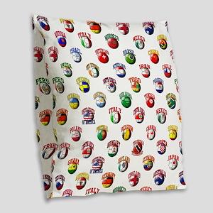 World Flags Soccer Balls Burlap Throw Pillow
