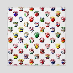 World Flags Soccer Balls Queen Duvet