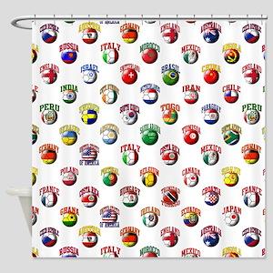 World Flags Soccer Balls Shower Curtain