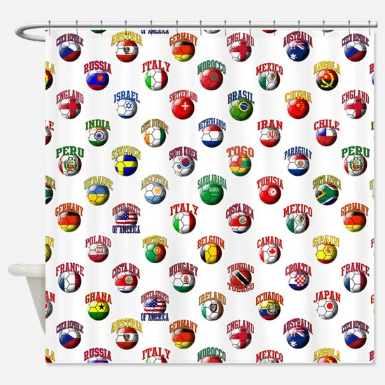 World Flags Soccer Balls Shower Curtain