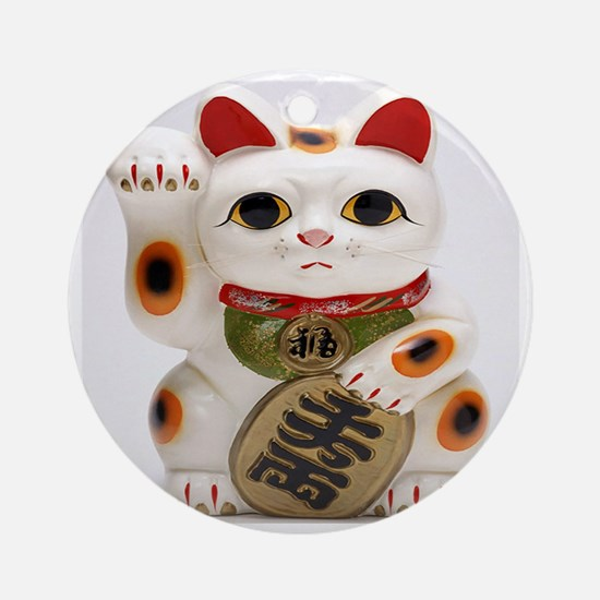Lucky cat Round Ornament
