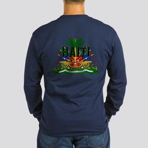 Haitian Coat Of Arms Long Sleeve Dark T-Shirt