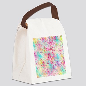 Girly neon Pink Teal Abstract Spl Canvas Lunch Bag