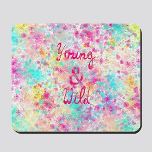 Girly neon Pink Teal Abstract Splatter T Mousepad
