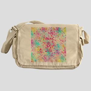 Girly neon Pink Teal Abstract Splatt Messenger Bag