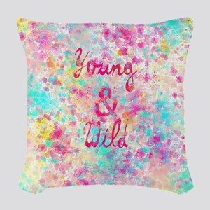 Girly neon Pink Teal Abstract  Woven Throw Pillow