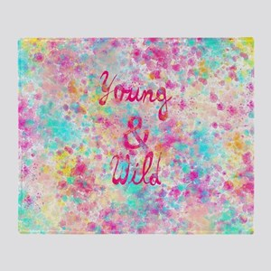 Girly neon Pink Teal Abstract Splatt Throw Blanket