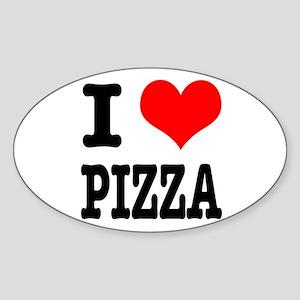 I Heart (Love) Pizza Oval Sticker