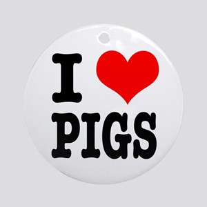 I Heart (Love) Pigs Ornament (Round)