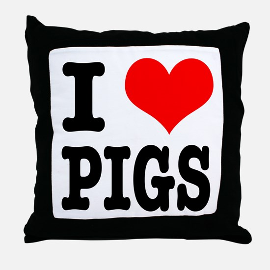 I Heart (Love) Pigs Throw Pillow