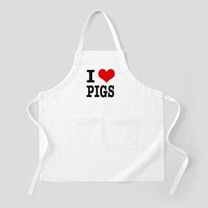 I Heart (Love) Pigs BBQ Apron