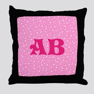 Custom Pink Monogram Pink Spotted Pattern Throw Pi
