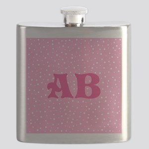 Custom Pink Monogram Pink Spotted Pattern Flask