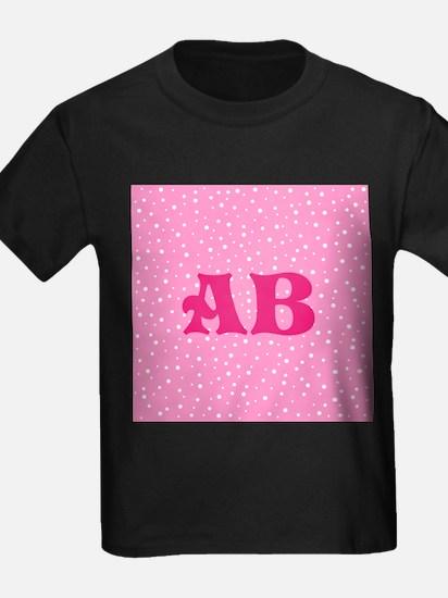 Custom Pink Monogram Pink Spotted Pattern T-Shirt