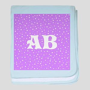 Custom Monogram Purple Spotted Pattern baby blanke